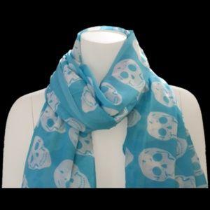 Accessories - SKULL COTTON SCARF BLUE